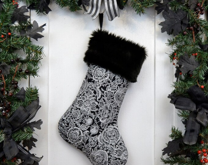 Day of the Dead Sugar Skulls Flowers Christmas Stocking, Black and White, Black Faux Fur, Dia de los Muertos