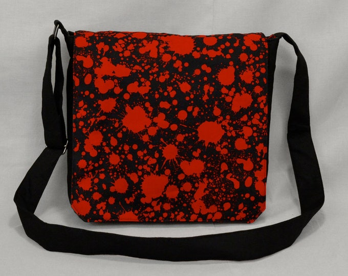 Blood Splatter Medium Size Canvas Messenger Bag, Tablet and Phone Zipper Pockets