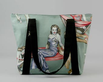 Zombie Pin-up Girls Zippered Tote Bag, Fabric Shoulder Bag with Pockets, Canvas Liner, Zombie Purse