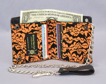 Halloween Bats Vegan Chain Wallet, Black and Orange, Goth Punk, Psychobilly, Deathrock, Black Canvas, Fabric Pockets