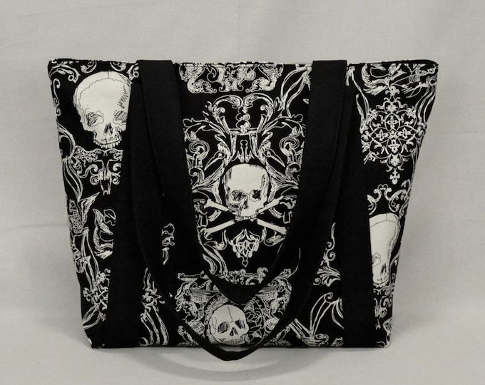 Zippered Tote Bag with Pockets, Pirate Skull and Crossbones, Black and White
