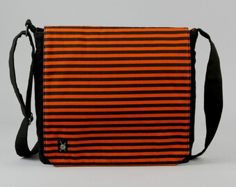 Halloween Messenger Bag, Orange and Black Stripe with Purple Pockets, Zipper iPad Tablet Phone Pockets, Fabric Messenger
