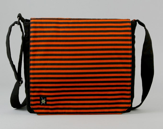 Halloween Medium Size Canvas Messenger Bag, Orange and Black Stripe with Purple Pockets, Zipper iPad Tablet Phone Pockets, Fabric Messenger