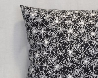 Glow-in-the-Dark Spider Webs 18 Inch Throw Pillow, Goth Punk Home Decor, Halloween Decorative Pillow