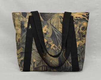 Fabric Shoulder Tote Bag with Zipper and Pockets, Gothic Sorceress vs Grim Reaper, Goth Punk, Heavy Metal, Black Brown