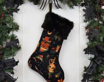 Rockabilly Punk Christmas Stocking Classic Tattoo Black, Black Faux Fur, Traditional Tattoo, Black Canvas Liner