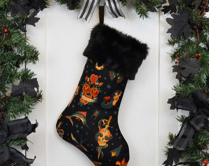 Rockabilly Punk Christmas Stocking Classic Tattoo Black, Black Faux Fur, Traditional Tattoo, Black Canvas Liner