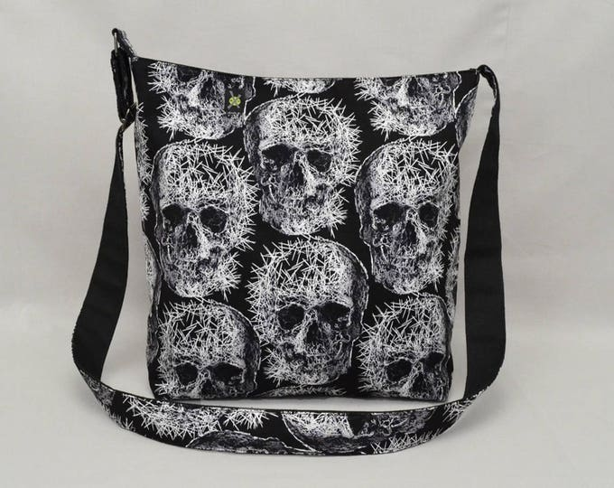 Punk Skulls Large Fabric Crossbody Bag with Pockets, Work School Book Bag, Goth, Heavy Metal, Black and White, Canvas Liner