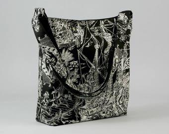 Skeleton Pirates Large Crossbody Bag, Mens Womens, Work School Book Bag, Black and White, Ready To Ship
