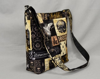 Large Crossbody Bag Nevermore Gothic Antique, Bats Owls Skulls, Fabric Canvas Shoulder Bag, School Work Book Bag, Black Sepia Brown