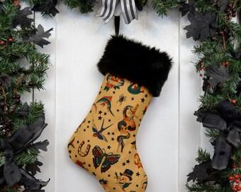 Rockabilly Punk Christmas Stocking Classic Tattoo, Tan Brown. Black Faux Fur, Traditional Vintage Tattoo, Black Canvas Liner
