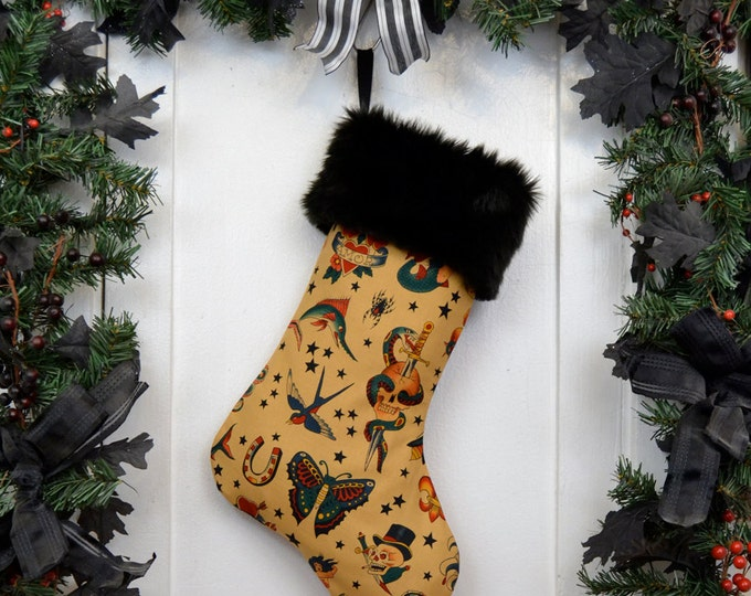 Rockabilly Punk Christmas Stocking Classic Tattoo, Tan Brown. Black Faux Fur, Traditional Vintage Tattoo, Black Canvas Liner