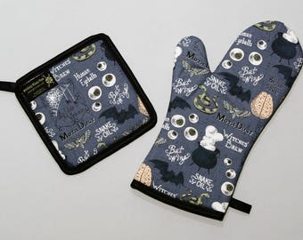 Witches Brew Oven Mitt and Pot Holder, Sets and Singles, Halloween Housewares, Bats, Black Cauldron, Eyeballs