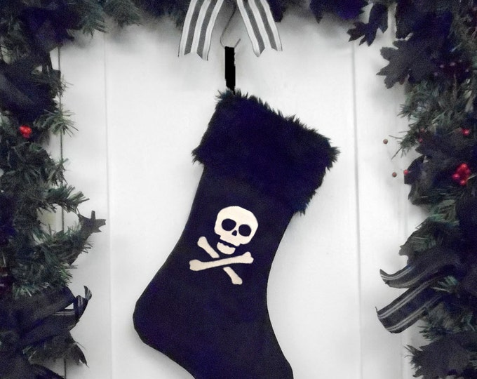 Punk Goth Pirate Christmas Stocking Skull and Crossbones, Black Faux Fur, Black Canvas Liner