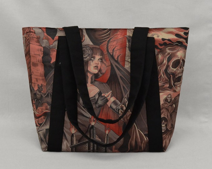Red and Black Gothic Zippered Tote Bag, Sorceress vs Grim Reaper, Bats Skulls Ravens
