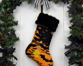 Halloween Christmas Stocking Black Bats in a Spooky Orange Night Sky, Black Faux Fur, Goth Punk, Black Canvas Liner