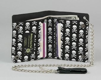 Skull and Crossbones Vegan Chain Wallet, Black and White, Black Canvas Wallet, Pirate Punk, Goth, Skater Wallet, Death Rock, Small Skulls