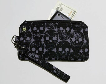 Black Skulls Phone Wristlet, Fabric Clutch, Zipper Pouch, Detachable Strap, Small Zipper Purse, Black and Gray