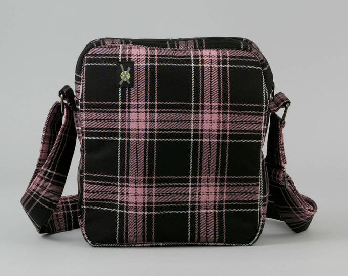Pink and Black Plaid Small Crossbody Bag, Zipper Top Closure, Fabric Crossbody with Pockets