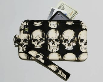 Goth Punk Phone Wristlet, Realistic Anatomical Skulls on Black, Zipper Pouch, Wallet Wristlet, Detachable Strap, Small Purse
