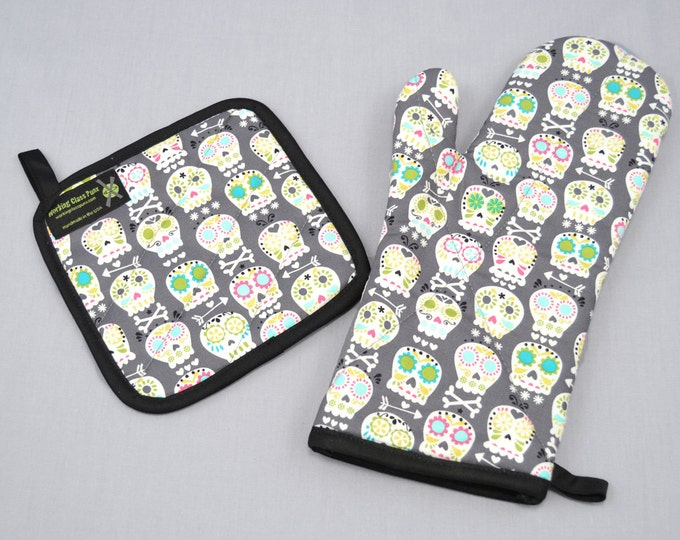 Sugar Skulls Oven Mitt and Pot Holder, Sets and Singles, Day of the Dead, Gray and White with Colorful Details
