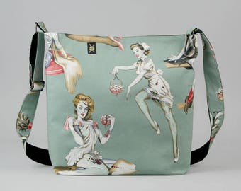 Zombie Large Crossbody Bag, Pin Up Girls, Work School Book Bag, Mint Green Gray Red, Fabric Shoulder Bag with Canvas Liner, Horror Fan