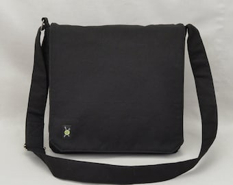 All Black Medium Size Canvas Messenger Bag, Mens Womens, Zipper iPad Tablet  Phone Pockets, Crossbody Shoulder Bag 672db7051d