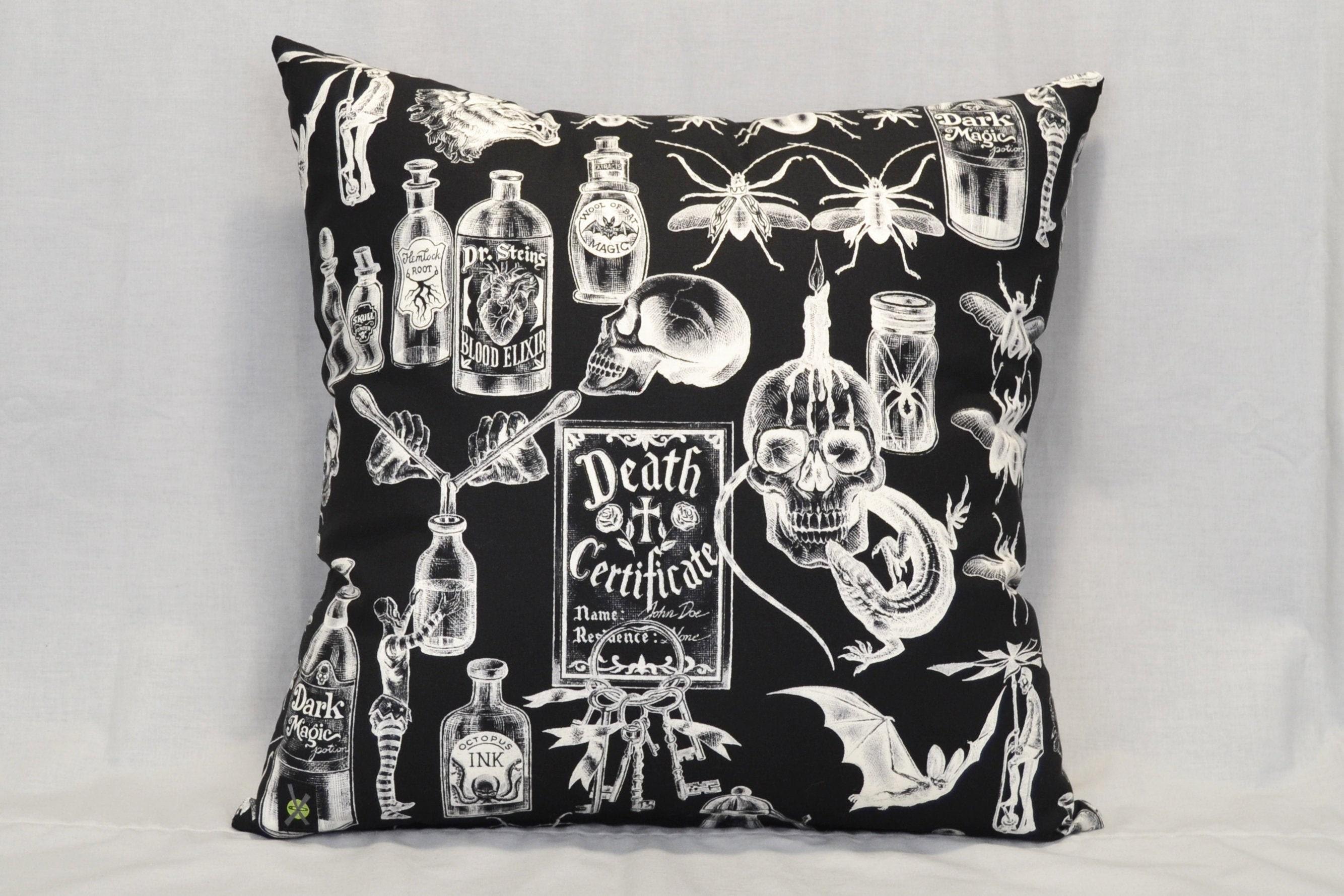 Dark Magic 18 Inch Throw Pillow Gothic Home Decor Horror Punk Voodoo Witchcraft Occult Halloween Decorative Pillow Skulls Bugs