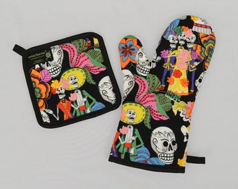 Bright and Colorful Day of the Dead Oven Mitt and Pot Holder, Sets or Singles