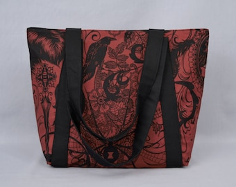 Gothic Zippered Tote Bag, Dark Red and Black, Skull, Black Widow, Ravens, Fabric Canvas Tote with Pockets