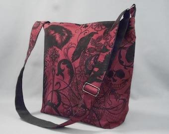 Large Gothic Crossbody Bag, Ravens, Skulls, Black Widow, Fabric Work School Book Bag wth Pockets, Canvas Liner, Dark Red & Black