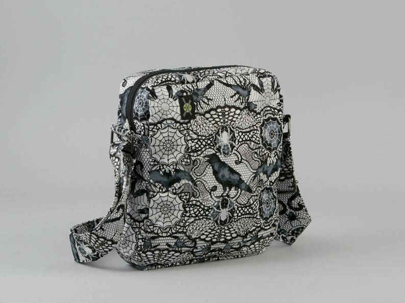 2175146bce63 Gothic Black and White Small Crossbody Bag with Pockets