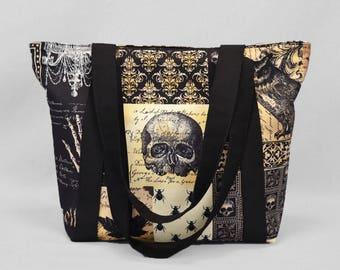 Zipper Tote Bag Nevermore Gothic Antique, Skulls Bats Owls, Black Sepia, Fabric Shoulder Bag with Pockets, Canvas Liner