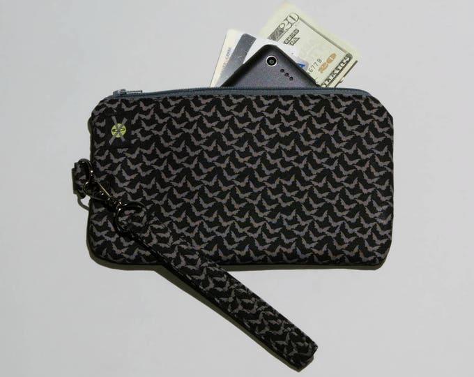 Mini Bats Phone Purse, Wristlet Wallet, Black and Gray, Zipper Pouch, Detachable Strap, Small Purse
