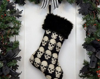 Goth Punk Halloween Christmas Stocking Realistic Anatomical Skull on Black, Black Faux Fur, Black Canvas Liner