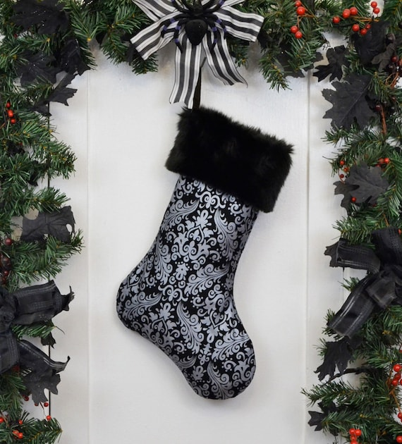 Gothic Victorian Christmas Stocking Metallic Silver Damask