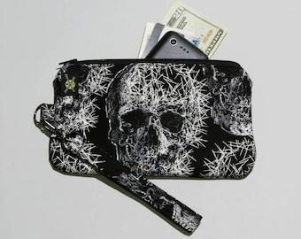 Shattered Skulls Phone Zipper Wristlet, Punk Rock, Fabric Clutch, Zipper Pouch, Goth Wristlet, Detachable Strap, Black White, Small Purse