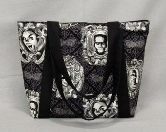 Tote Bag with Zipper, Frankenstein Dracula Mummy Skull Bats, Black and White