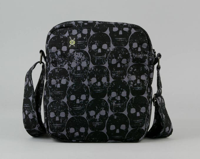 Black Skulls Small Crossbody Bag, Zipper Closure, Womens Mens, Fabric Crossbody with Pockets, Dark Gray