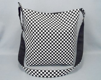 Black and White Checkered Large Crossbody Bag, School Work Book Bag, Skater, Punk Rock, Tomboy, Fabric Bag with Canvas Liner
