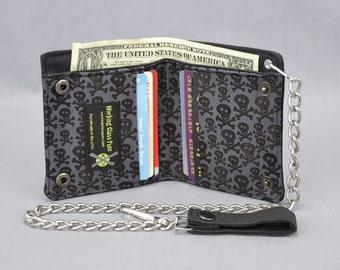 Skull and Crossbones Vegan Chain Wallet, Black and Gray, Black Canvas, Fabric Pockets, Punk Pirate, Skater, Goth, Guys Girls, Tomboy