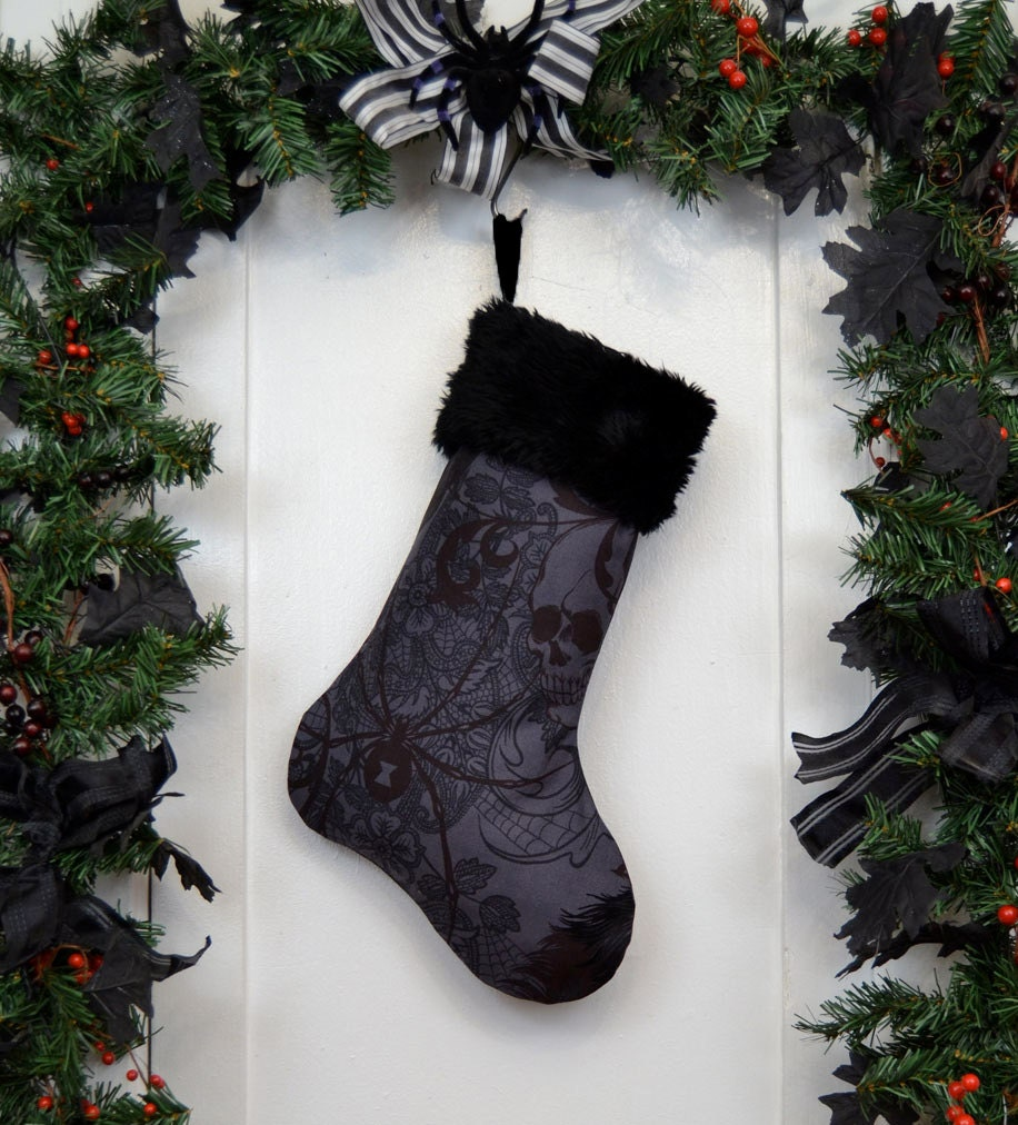 charcoal gray gothic christmas stocking black widow and skulls black faux fur black canvas liner halloween decoration - Black Christmas Stocking