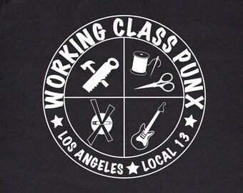 Working Class Punx Union T-shirt, Working Class Punk, Black and White Silkscreen, Punk Tee
