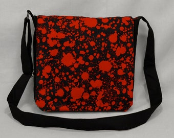 Blood Splatter Medium Size Canvas Messenger Bag, Tablet and Phone Zipper Pockets