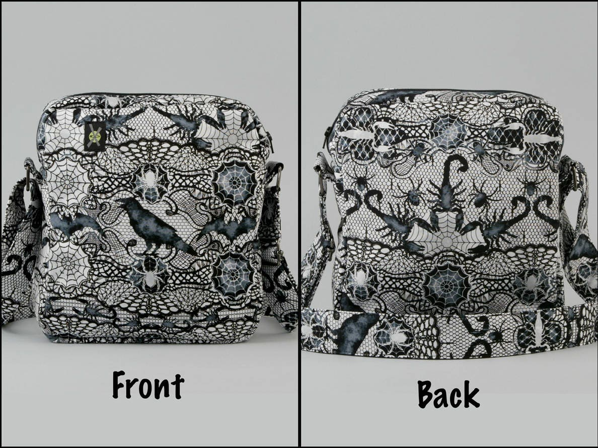 7b434e256332 Gothic Black and White Small Crossbody Bag with Pockets