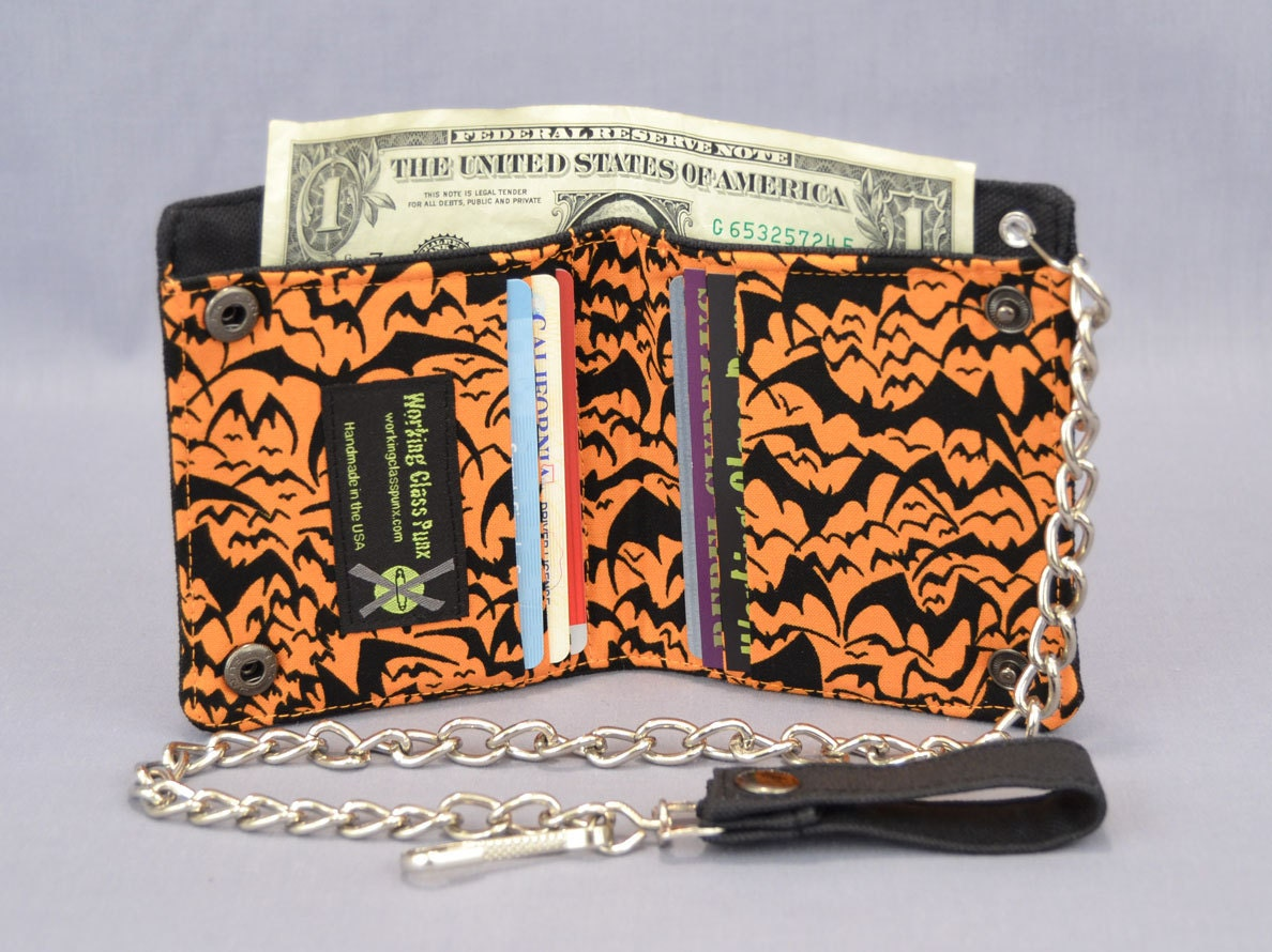halloween bats vegan chain wallet black and orange fabric pockets black canvas bi fold detachable chain
