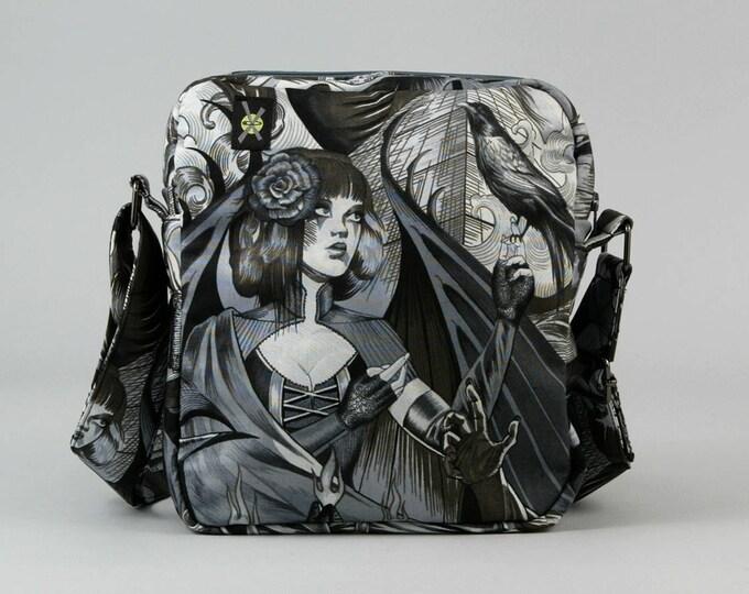Gothic Horror Punk Small Crossbody Bag, Zipper Closure, Fabric Purse with Pockets, Black and White, Sorceress, Raven, Bats, Death Rock