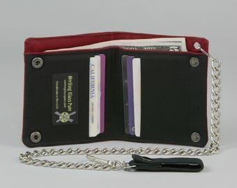 Black and Red Vegan Chain Wallet, Black Fabric Pockets, Red Canvas Wallet, Plain Black, No Print, No Design