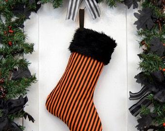 Orange and Black Stripe Halloween Christmas Stocking, Black Faux Fur, Canvas Liner, Halloween Decoration