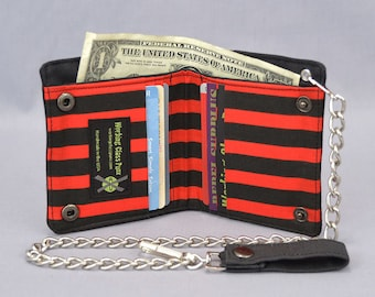 Vegan Chain Wallet Black and Red Pirate Stripe, Black Canvas, Fabric Pockets